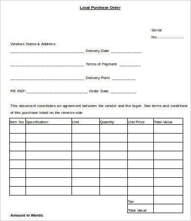Purchase Order Template - 6+ Free Word, Documents Download | Free ...