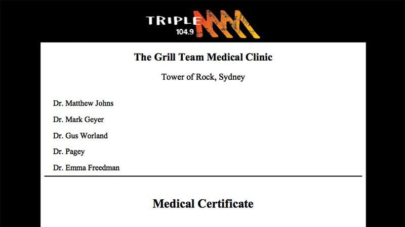 A Grill Team Doctor's Certificate