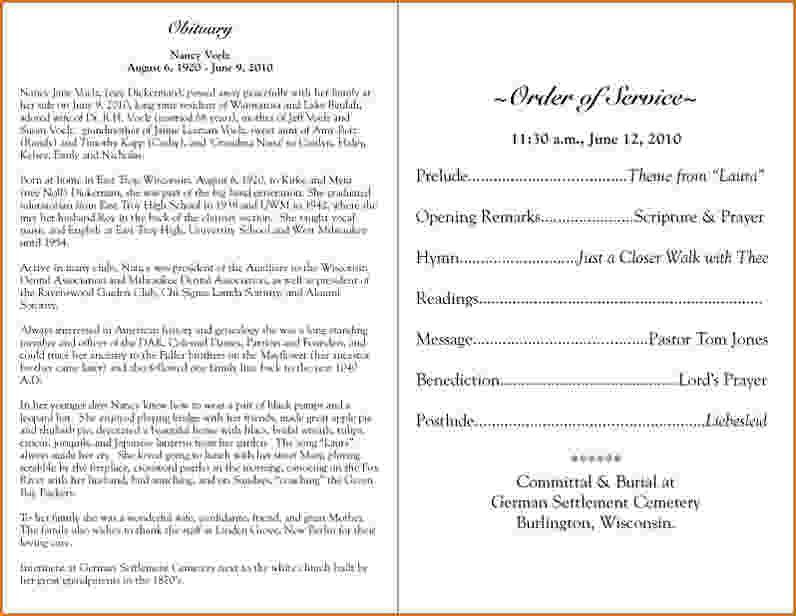 4 funeral program sample | teknoswitch