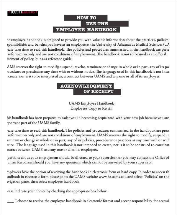 Employee Handbook Sample   9+ Free PDF Documents Download | Free .