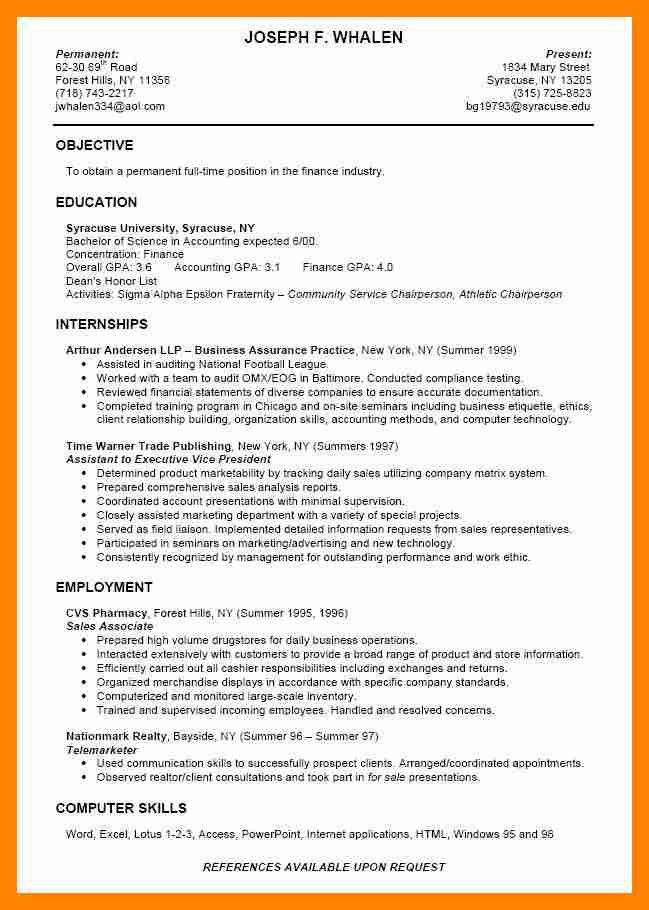 Resume Objective For College Student | Samples.csat.co