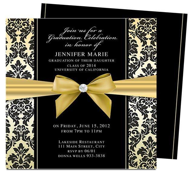 Graduation Announcements Templates : Feminine Style Design Bow ...