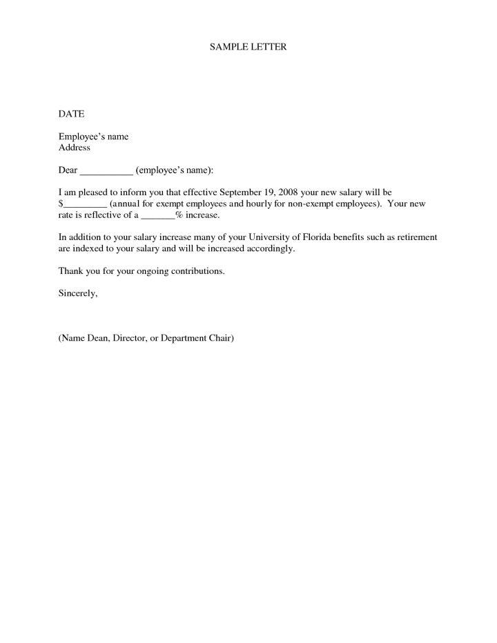 sample letter for salary increase | Docoments Ojazlink