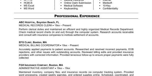 resume medical billing