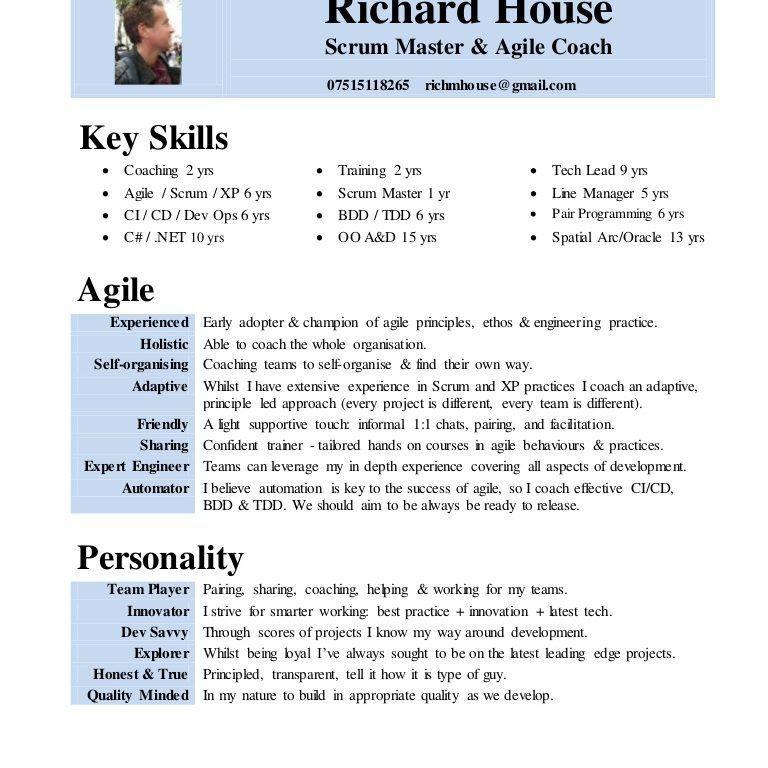 Mesmerizing Scrum Master Resume 11 CV Rich House Scrum Agile Coach ...