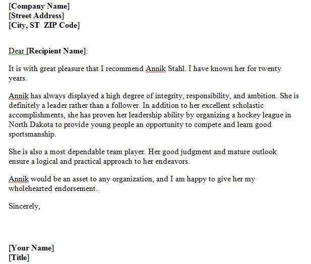 Sample Personal Letter Of Recommendation For Employment | The ...