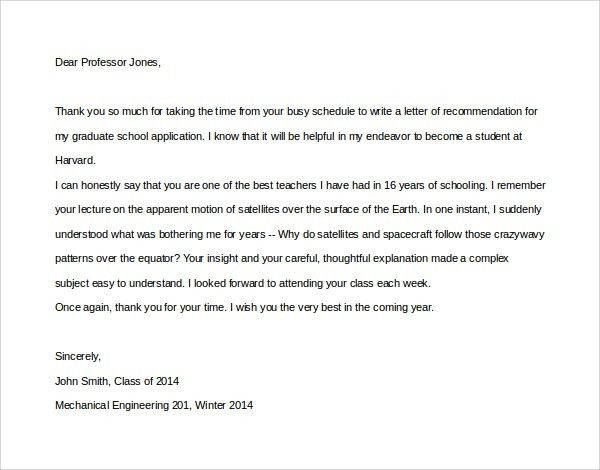 Sample Thank You Letter to Professor - 9+ Download Free Documents ...