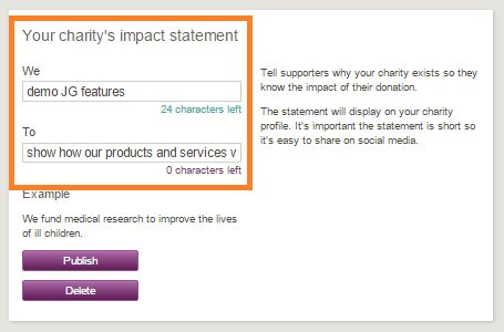 Adding your impact statement – JustGiving Charity Support