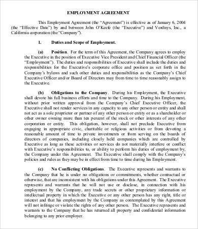 Employment Agreement Template - 9+ Free Sample, Example, Format ...