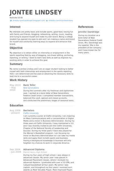 20+ Resume Samples For Bank Teller | For More And Various Sample ...