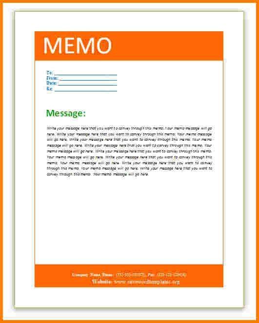4 word memo template   Receipt Templates