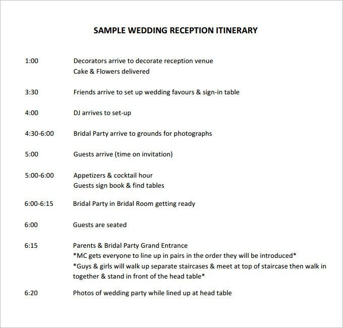 Wedding Agenda Template. Wedding Worksheet Itinerary Template ...
