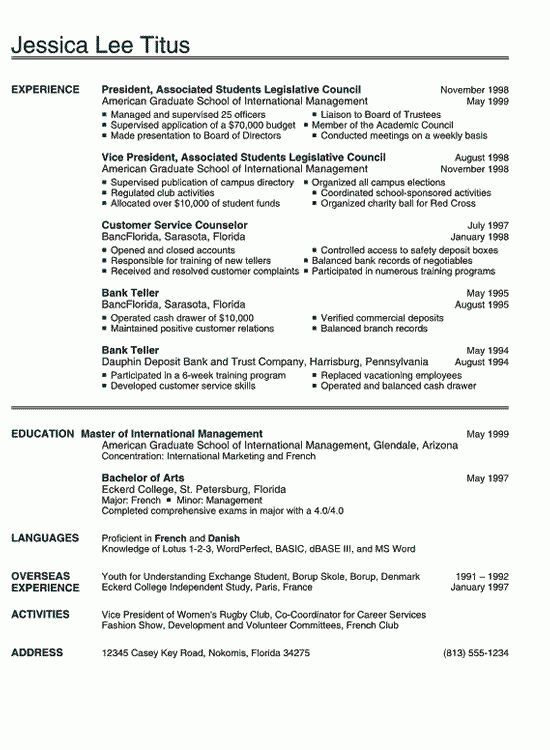 Resume Examples for College Students | RecentResumes.com