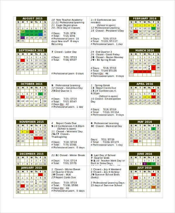Sample Calendar Template - 24+ Free Documents Download in Word ...