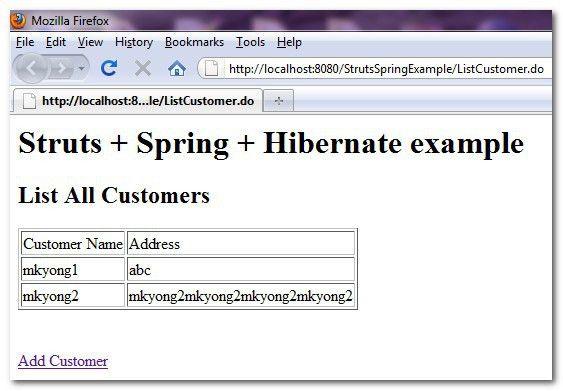 Struts + Spring + Hibernate integration example