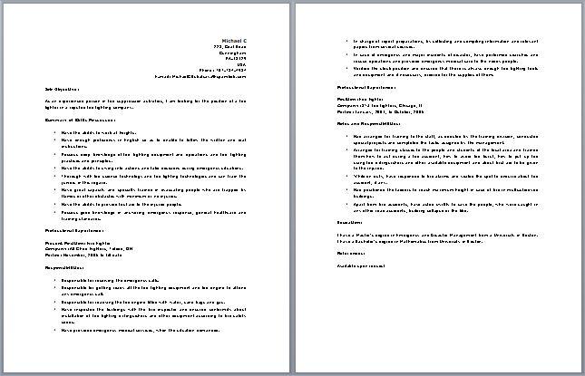 Fire lieutenant resume templates