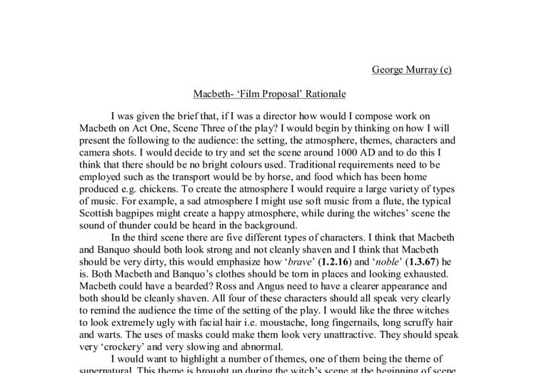 Macbeth- 'Film Proposal' Rationale. - A-Level English - Marked by ...