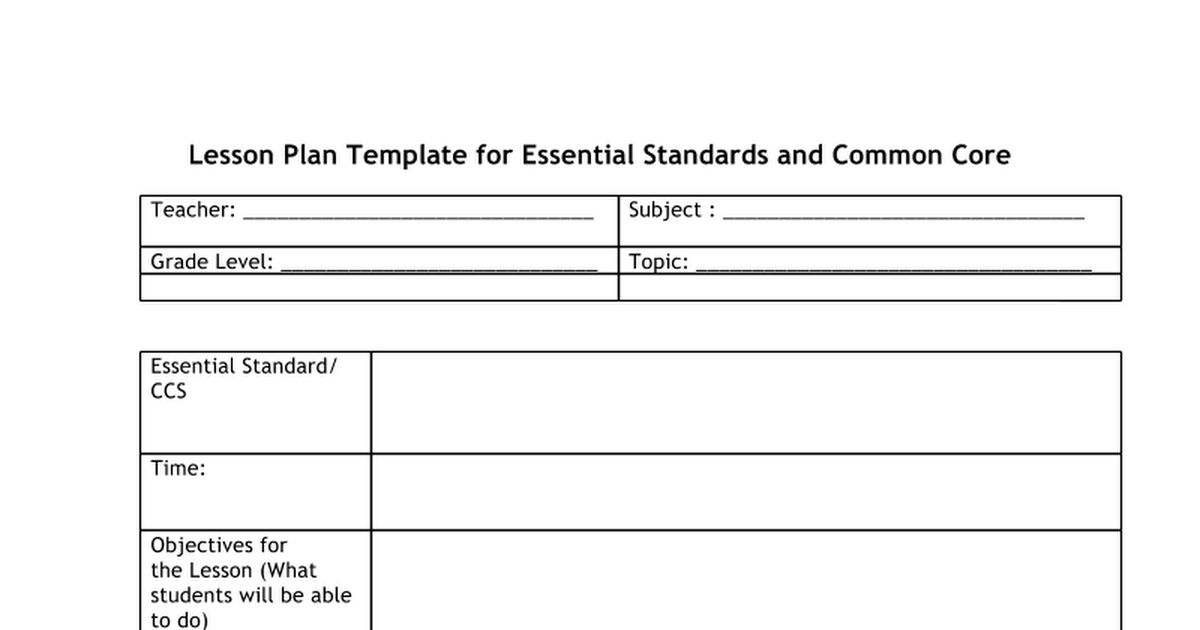 Lesson Plan Template for Essential Standards and Common Core.docx ...