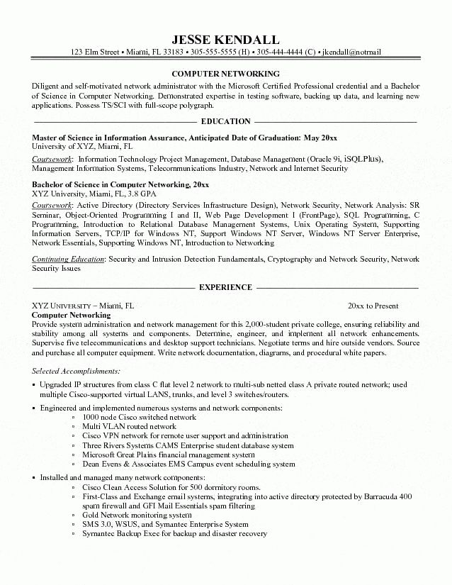 Networking Administrator Resume