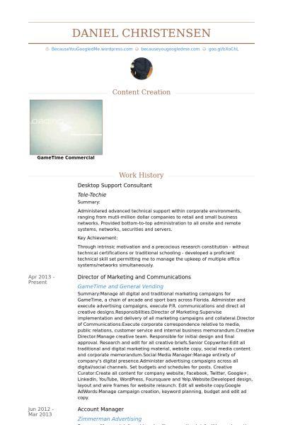 Desktop Support CV Örneği - VisualCV Özgeçmiş Örnekleri Veritabanı
