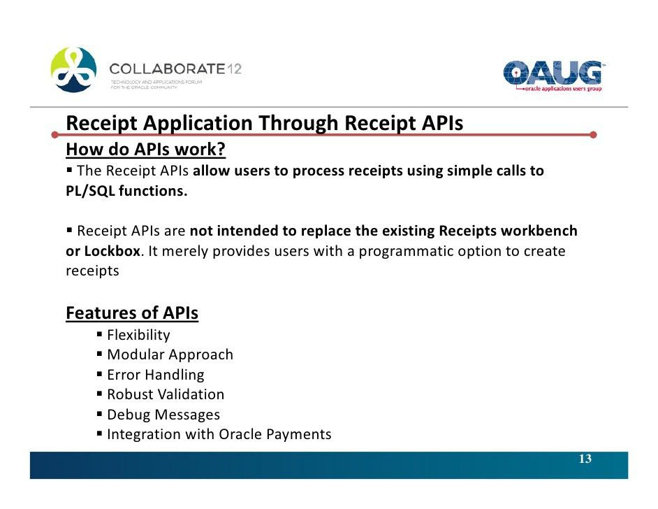 Efficiently handling Applications of Customer Receipts in Oracle Rece…