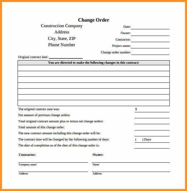 8+ change order template | cook resume