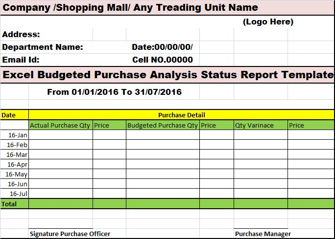 Excel Budgeted Purchase Analysis Status Report Template – Free ...