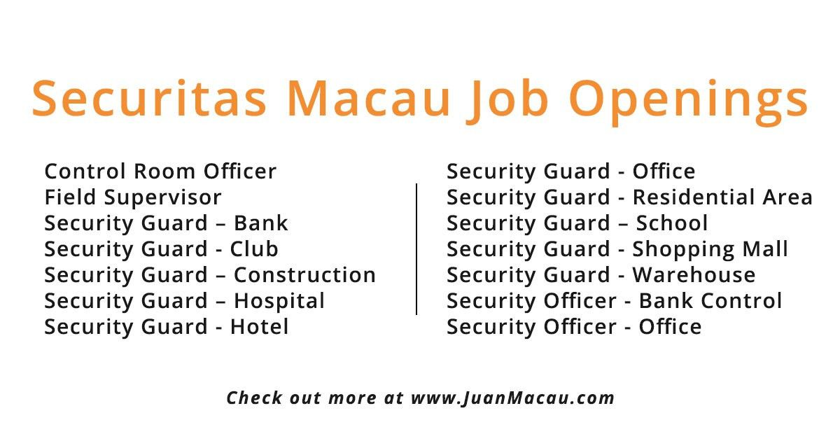 Securitas Macau Jobs - apply now for the latest openings