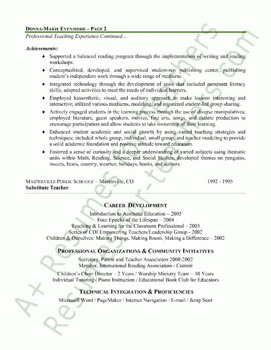 Elementary Teacher Resume Sample - Page 2 | Elementary teacher ...