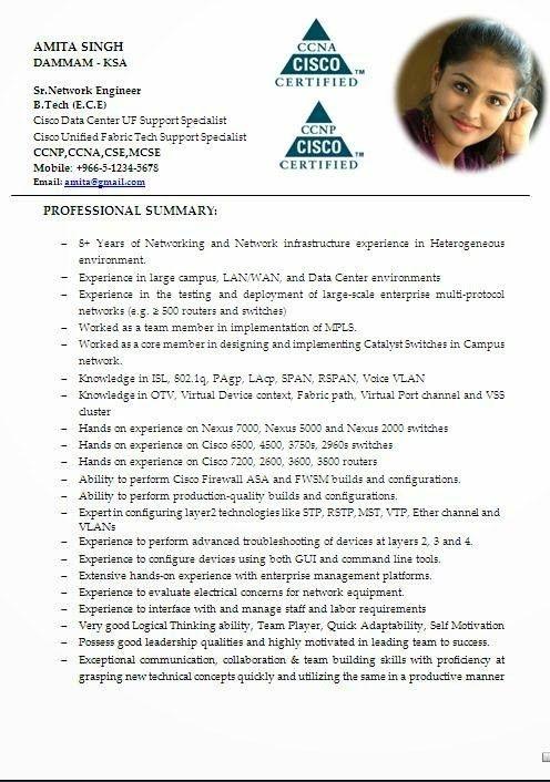 Sample resume cisco voip engineer