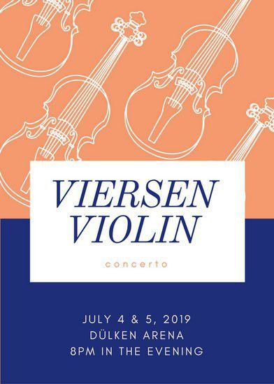 Light Salmon Outline Violin Music Flyer - Templates by Canva