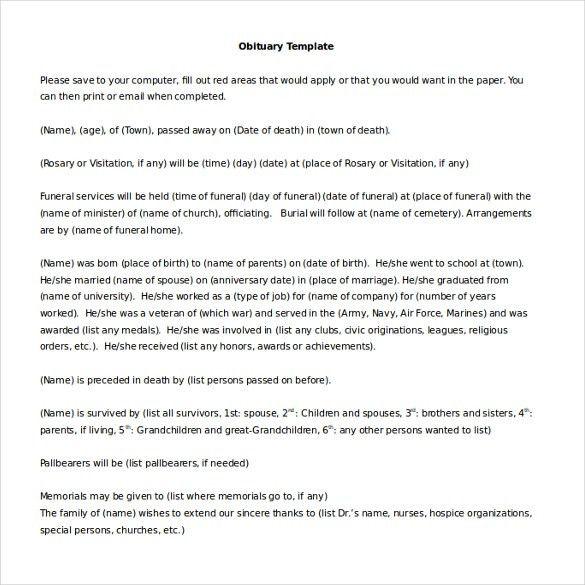 10+ Microsoft Word Obituary Templates Free Download | Free ...