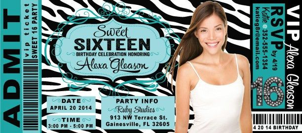 Sweet 16 Birthday Party Ticket Invitation [DI-8053] : Harrison ...