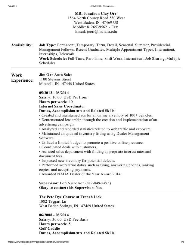 Download Usajobs Resume Sample | haadyaooverbayresort.com