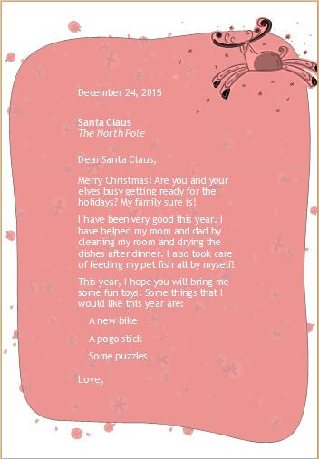 MS Word Letter to Santa Template | Word & Excel Templates