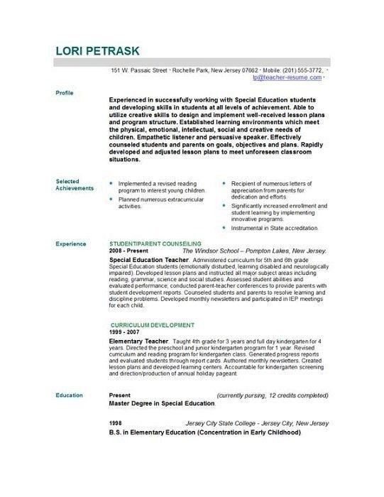 Sample Resume For The Post Of Teacher - Best Resume Collection