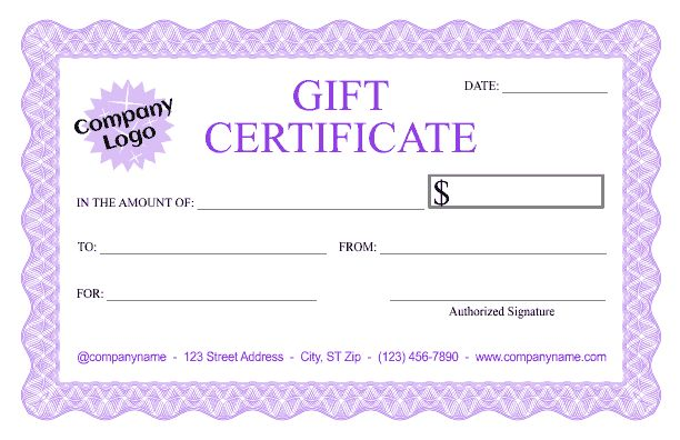 Formal Gift Certificate Templates