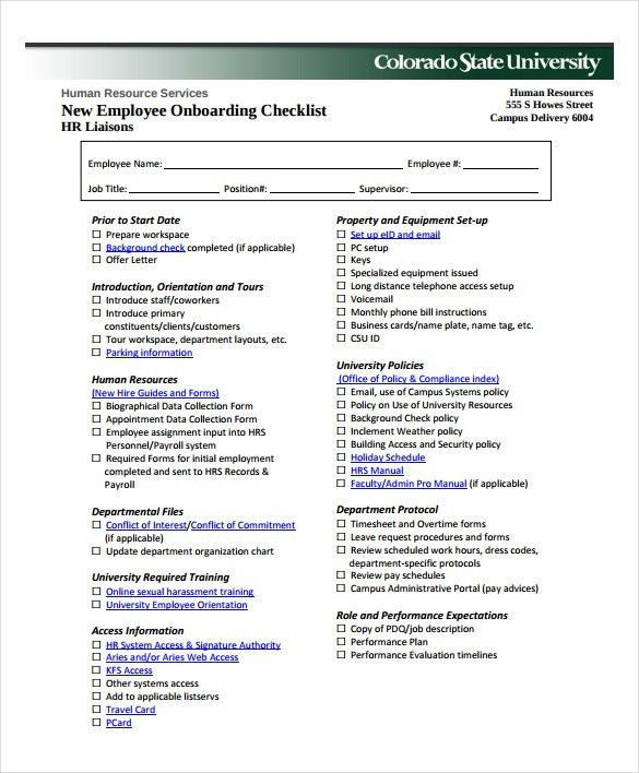 new employee checklist template
