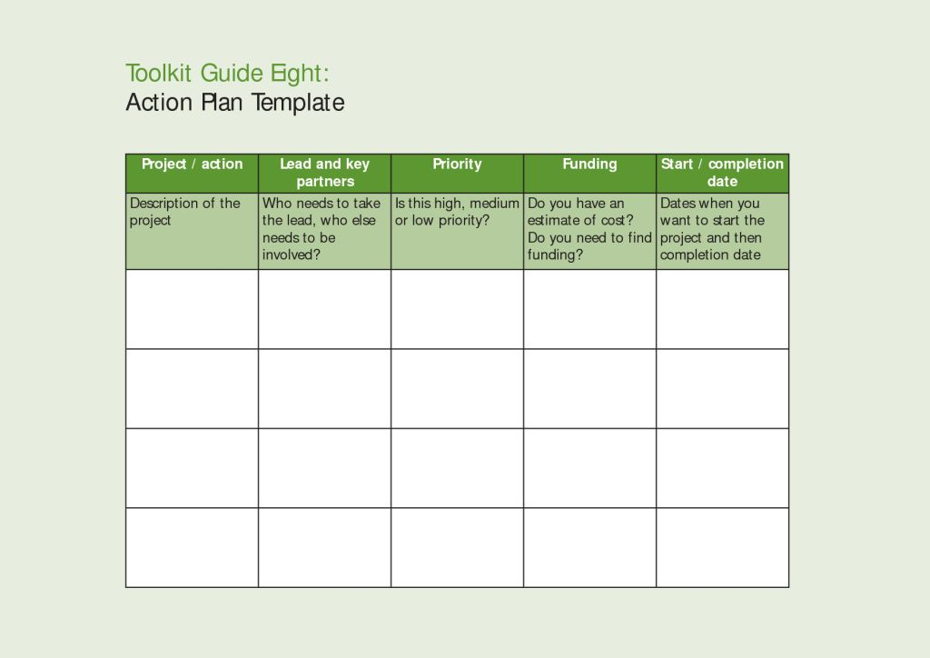 Inspiring Modern Action Plan Template Word Sample in Table Format ...