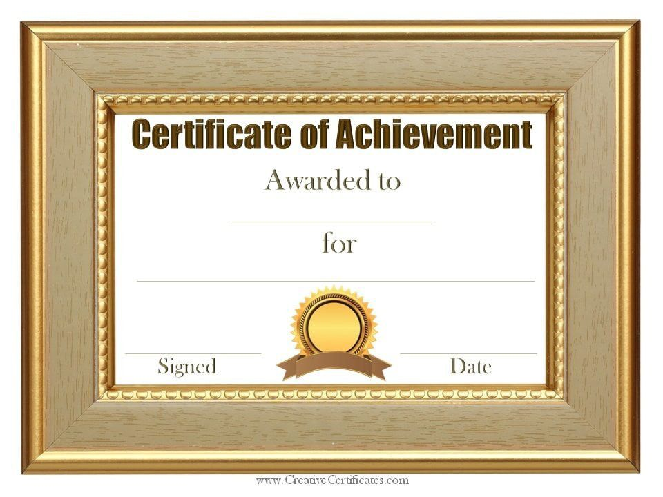 Free Achievement Certificates 97 [Template.billybullock.us ]