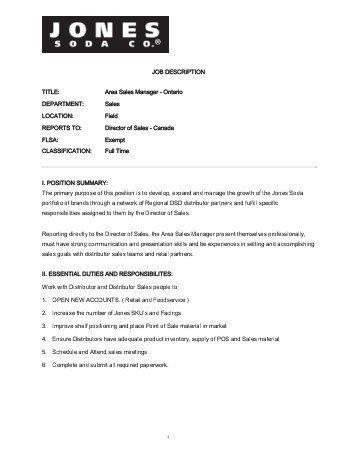 job description title area sales manager jones soda. hotel manager ...