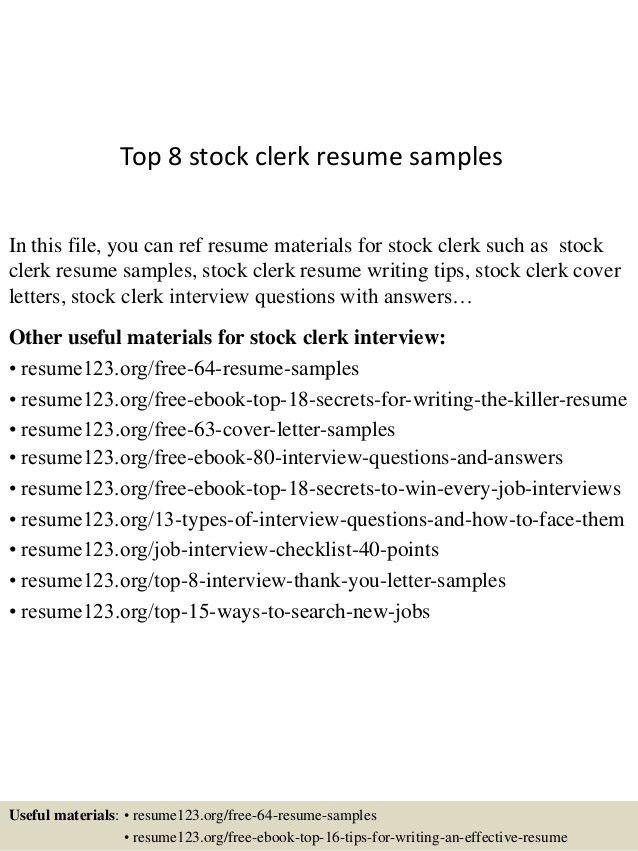 stock resume professional retail stock clerk templates to