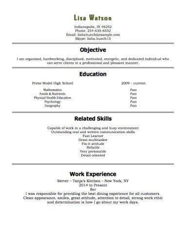 Example Of A Resume For A Teenager. Resume For High School ...