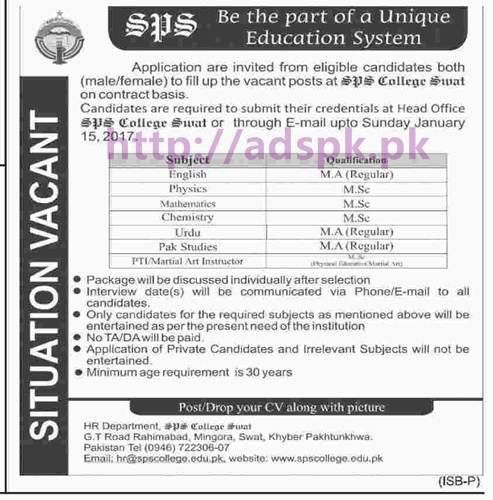 New Careers Excellent Jobs SPS College Swat KPK Jobs for M.A M.Sc ...