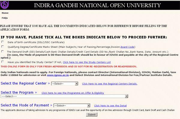 IGNOU Admission Form | IGNOU Online Admission Form | IGNOU ...