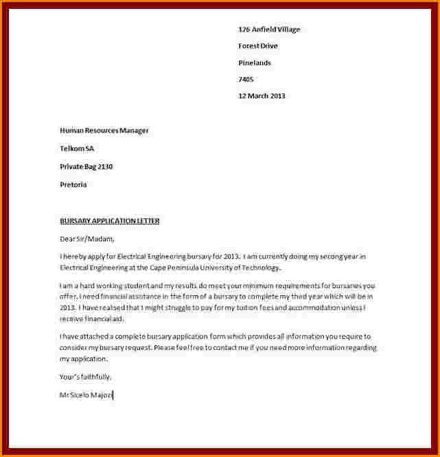 11+ motivation letter for bursary application example | receipts ...