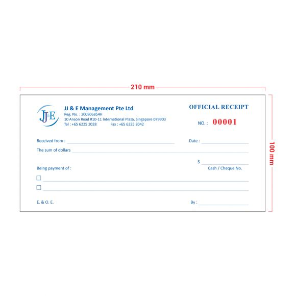 Invoice / Receipt Book (DL) - 20 Books - JJ & E