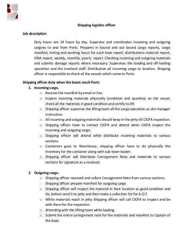 job description for shipping and receiving