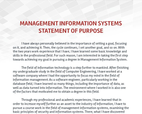 I want to apply for an MS in management information systems in the ...
