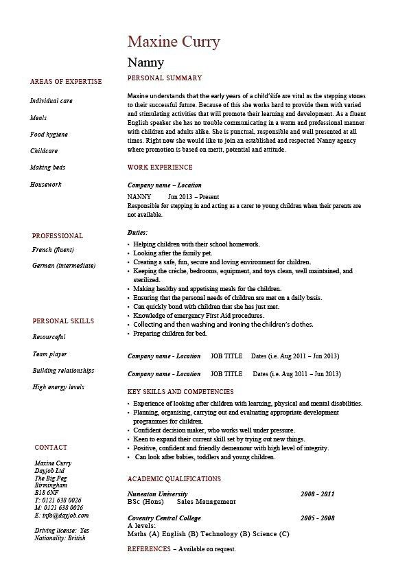 10 Nanny Resume Profile Examples Resume how to make nanny sound ...